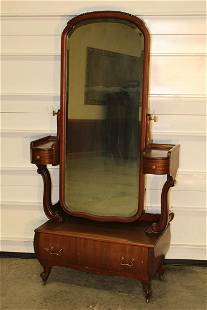 Unusual Adjustable Mahogany Cheval Mirror