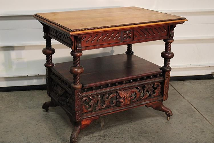 Victorian Cherry Lamp Table with Heads