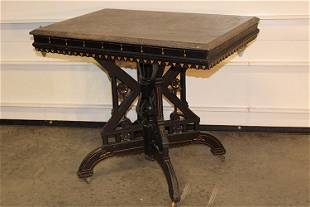 Ebonized Aesthetic Marble Top Center Table