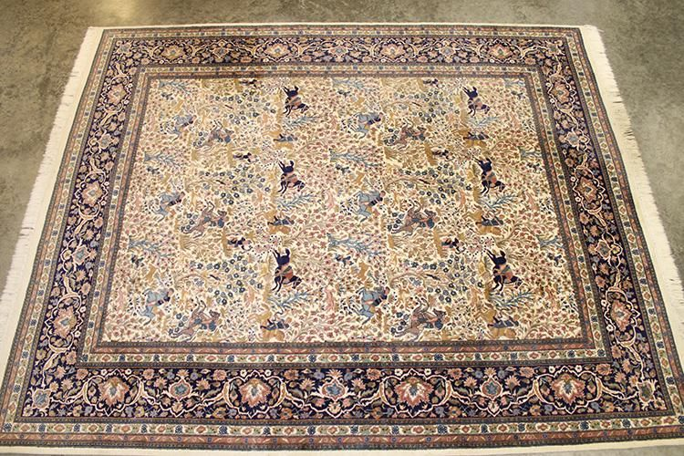 Large 10' Room Size Beige Hand Made with Men Riding