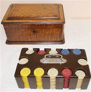 Antique Poker Chip Set in an Oak Case
