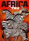 FLY TWA - AFRICA BY DAVID KLEIN ORIGINAL VINTAGE POSTER