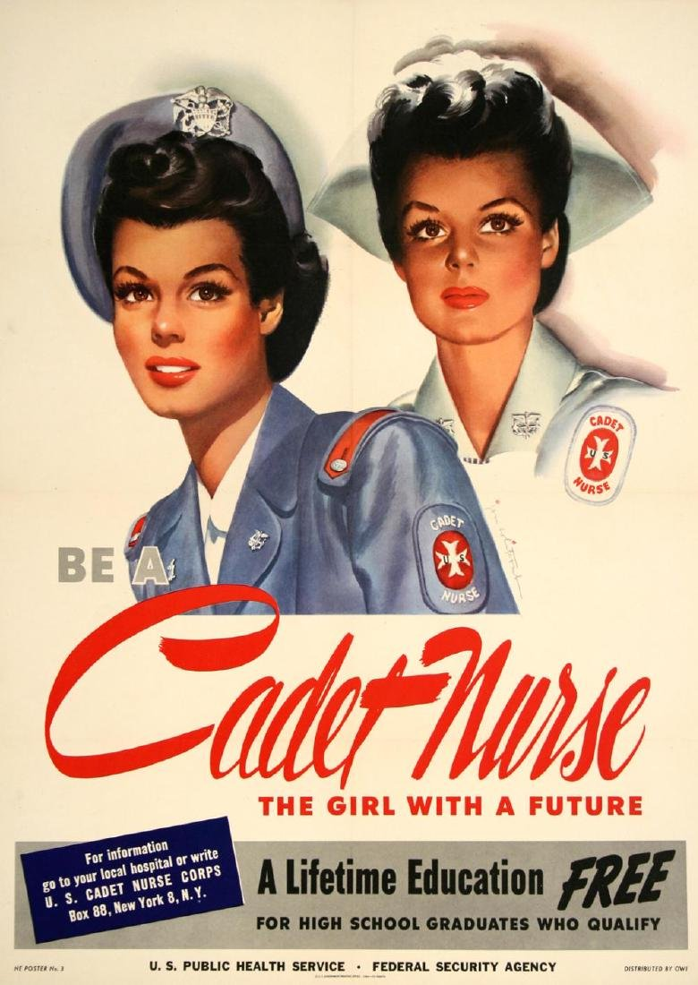 BE A CADET NURSE LARGE FORMAT - BY JOHN WHITCOMB