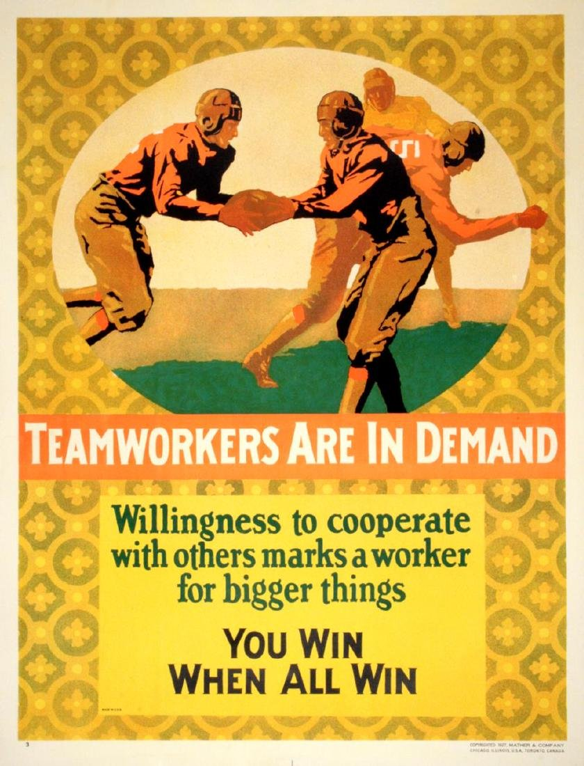 TEAMWORKERS ARE IN DEMAND ORIGINAL VINTAGE POSTER