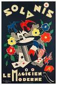 Original Vintage Magic Poster Solanis Le Magicien