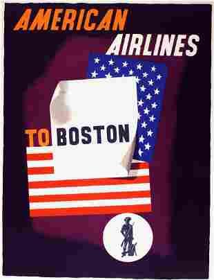 Original Vintage American Airlines Boston 1953 Poster