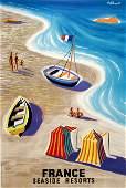 Original Vintage Villemot 1955 Poster France Seaside