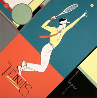 French Original Vintage Tennis Poster by Lepas c1995