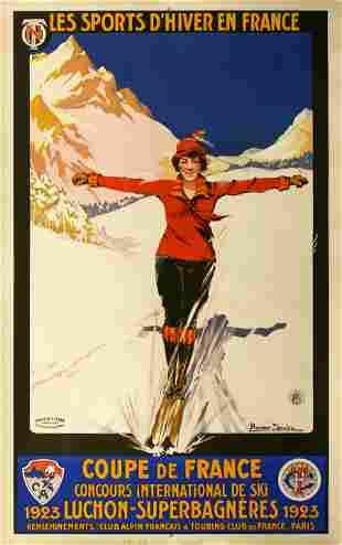 Original Vintage French Ski Poster Les Sports d'Hiver