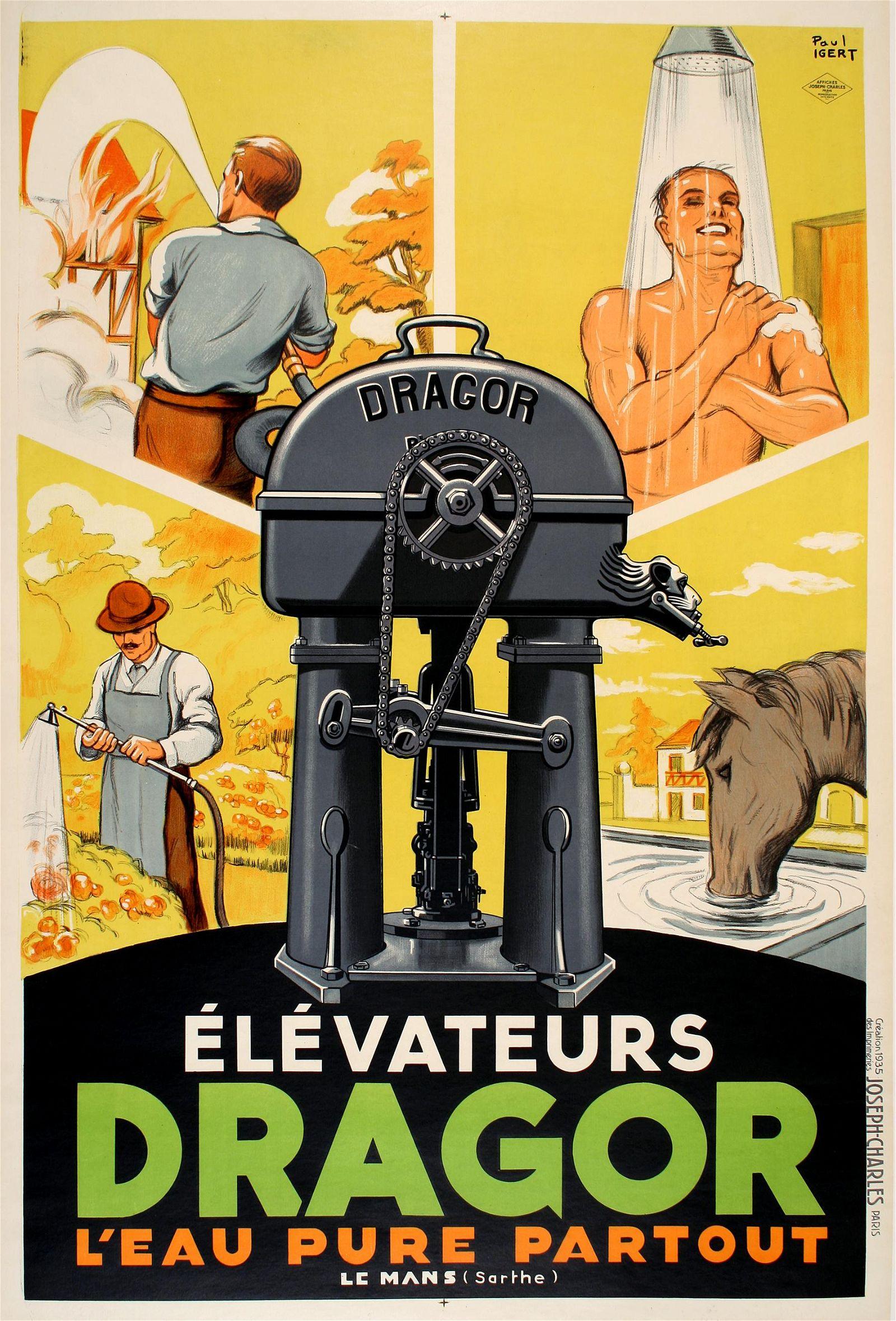 Original elevateurs Dragor Poster 1935 by Igert Water