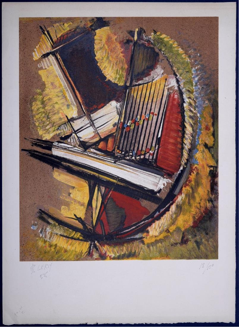 Roger Lersy Abstract composition 1954 Lithograph signed