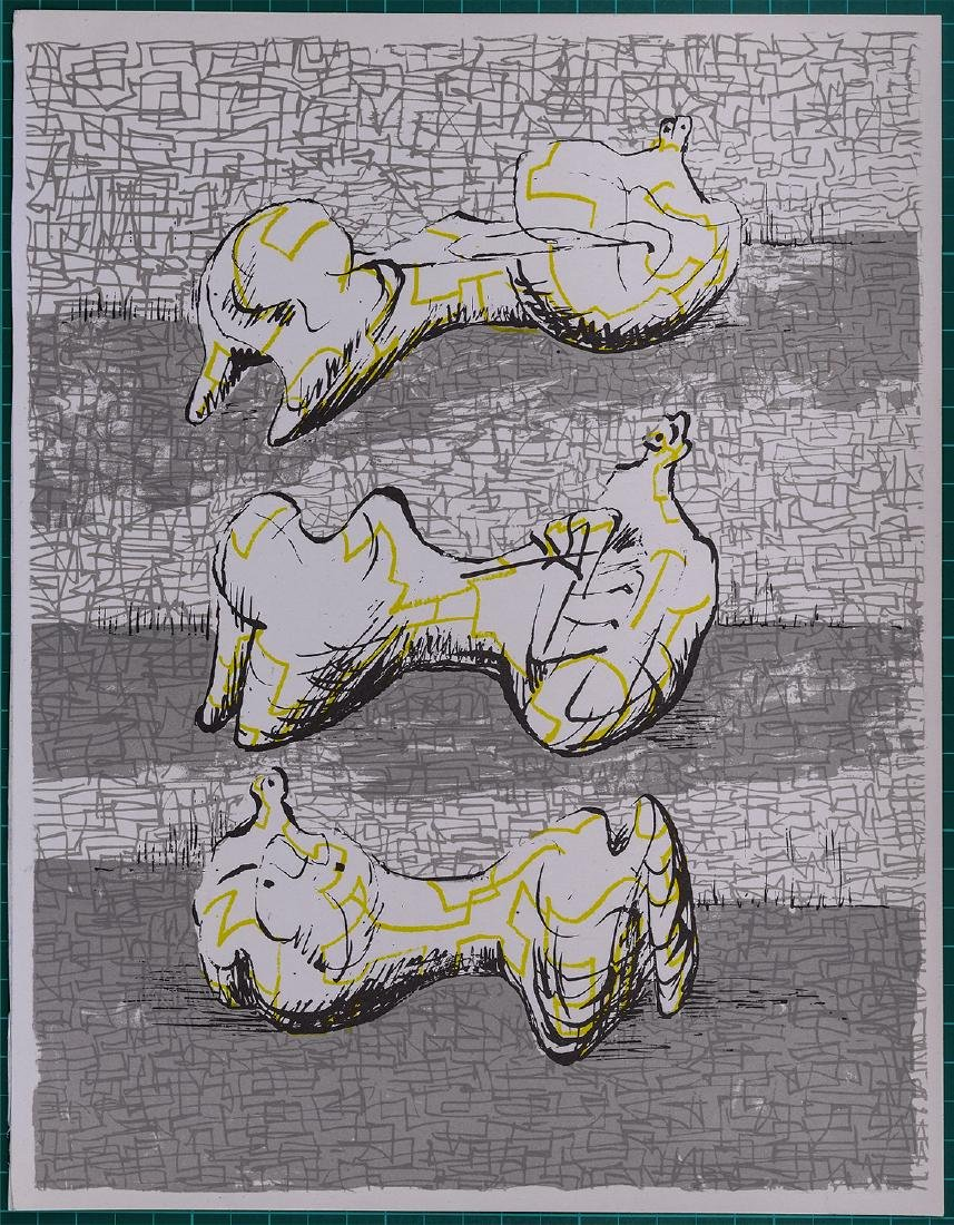 Henri Moore Three reclinning figures 1972 Lithograph