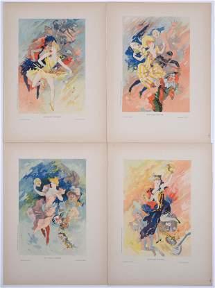 Jules Cheret - Les Arts, 1896 (Set of 4 plates)