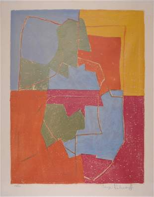 Poliakoff Composition rouge vert bleue jaune 1956