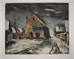 Maurice de Vlaminck - Village sous la neige, 1950