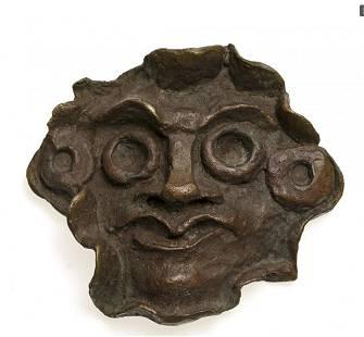 Derain - Masque aux grands yeux, bronze, signed