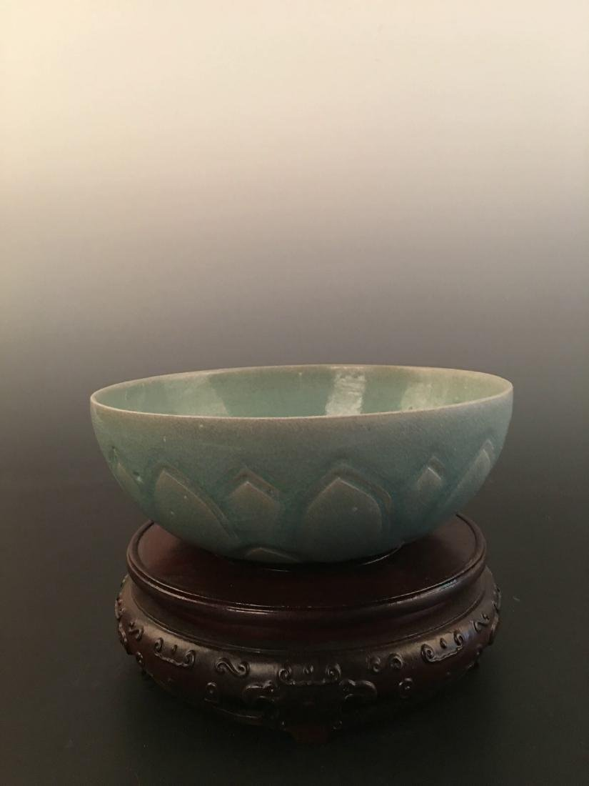 Chinese Green Glazed Carved Bowl - 3