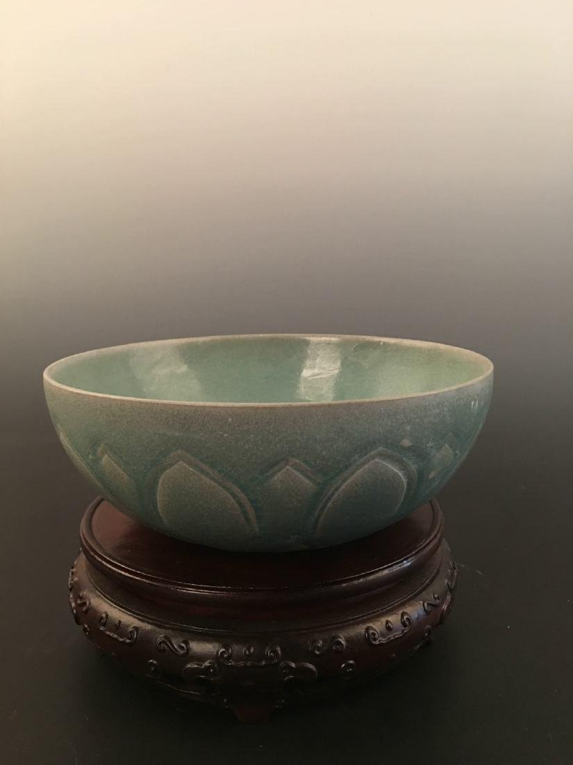 Chinese Green Glazed Carved Bowl - 7