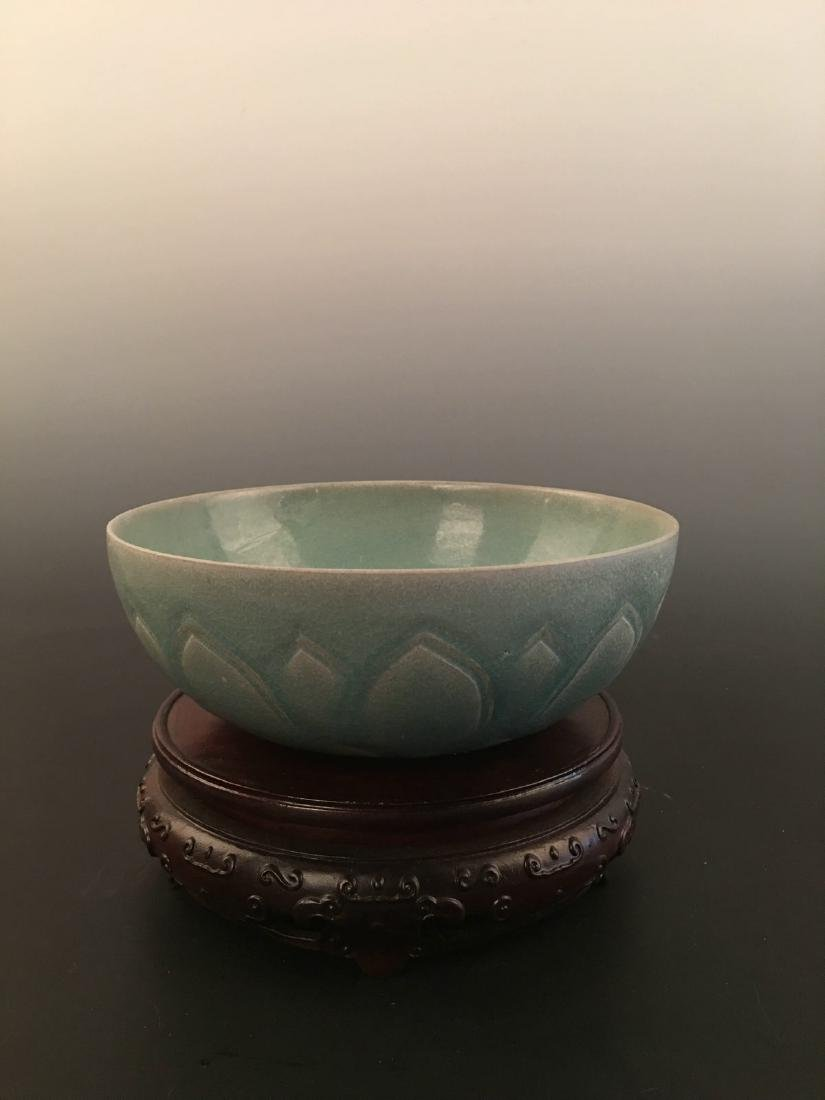 Chinese Green Glazed Carved Bowl - 8