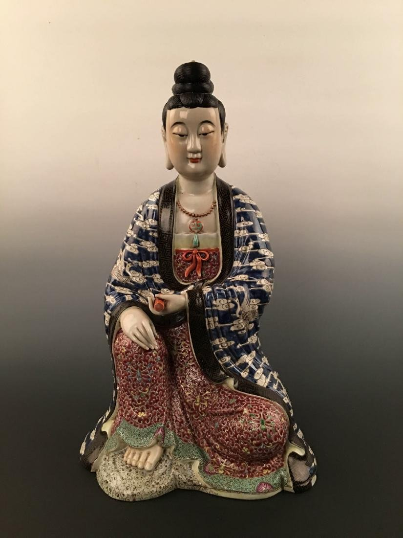 Chinese Famille Rose Porcelain Figure Statue