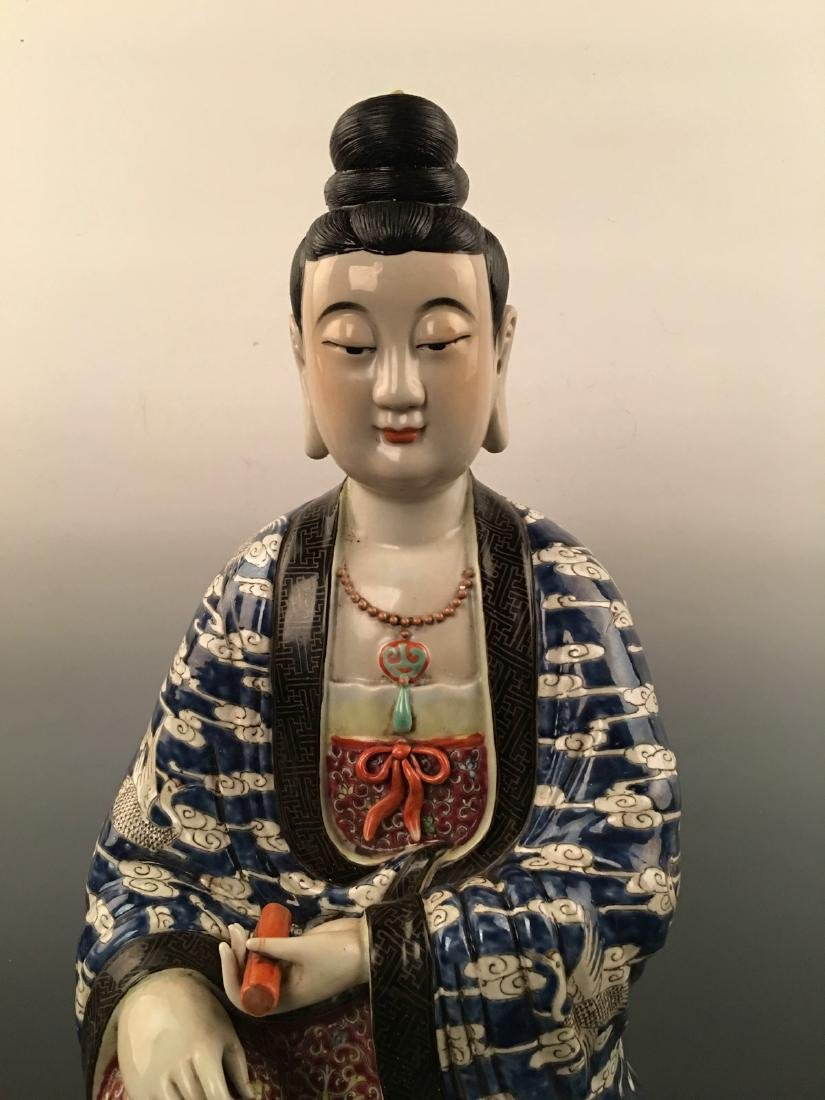 Chinese Famille Rose Porcelain Figure Statue - 2