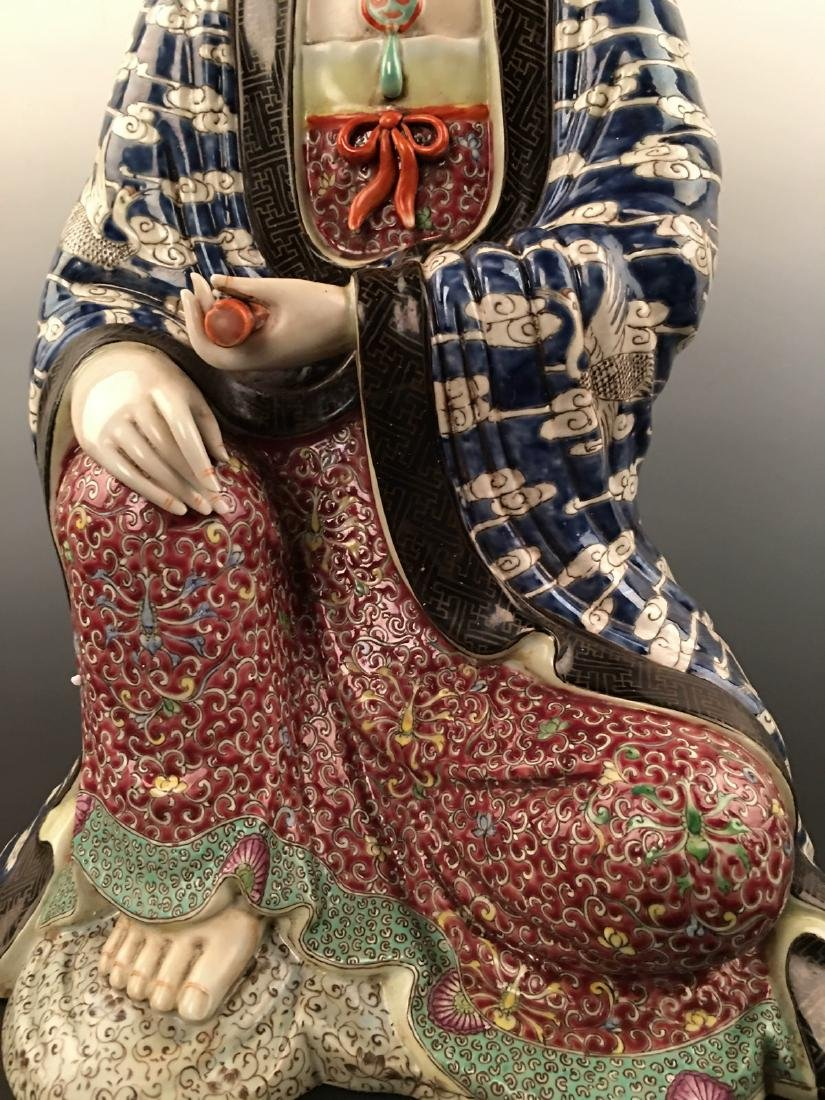 Chinese Famille Rose Porcelain Figure Statue - 3