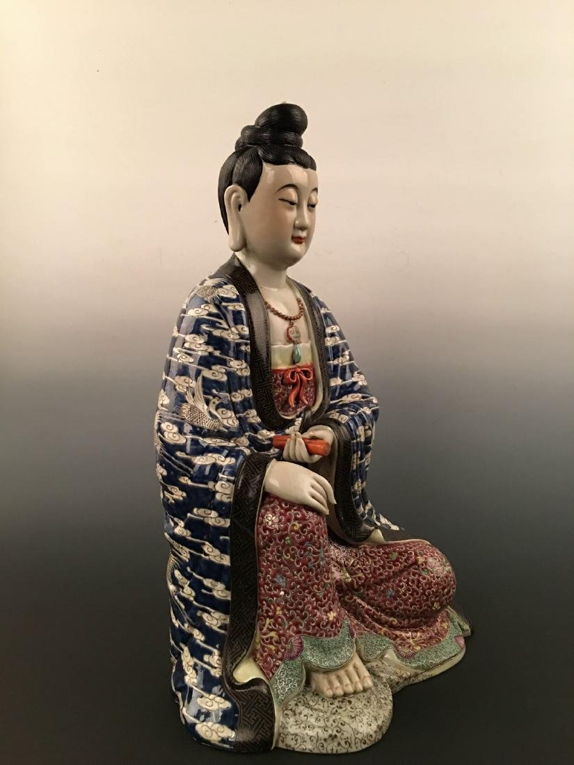 Chinese Famille Rose Porcelain Figure Statue - 4