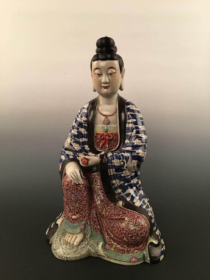 Chinese Famille Rose Porcelain Figure Statue - 8