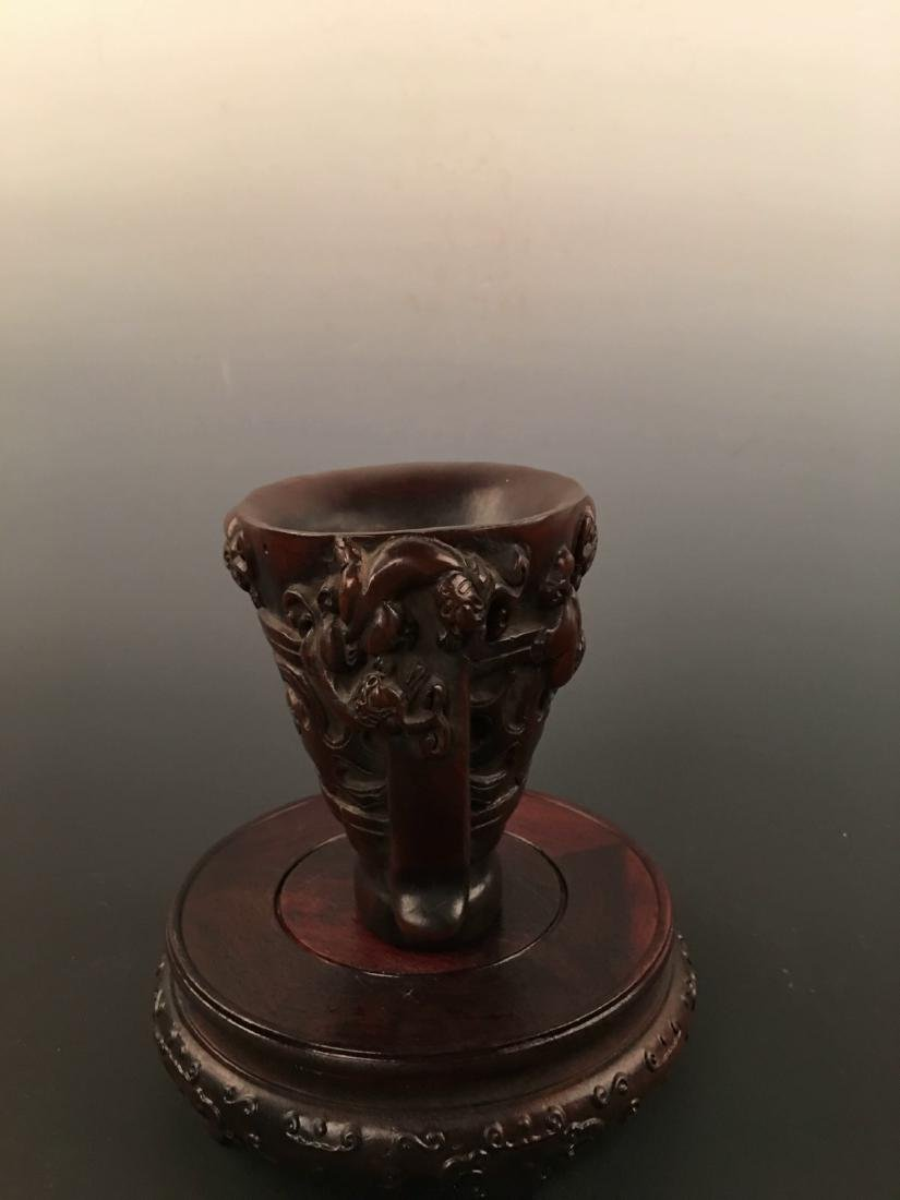 Chinese Ox Horn Carving Wine Cup - 2