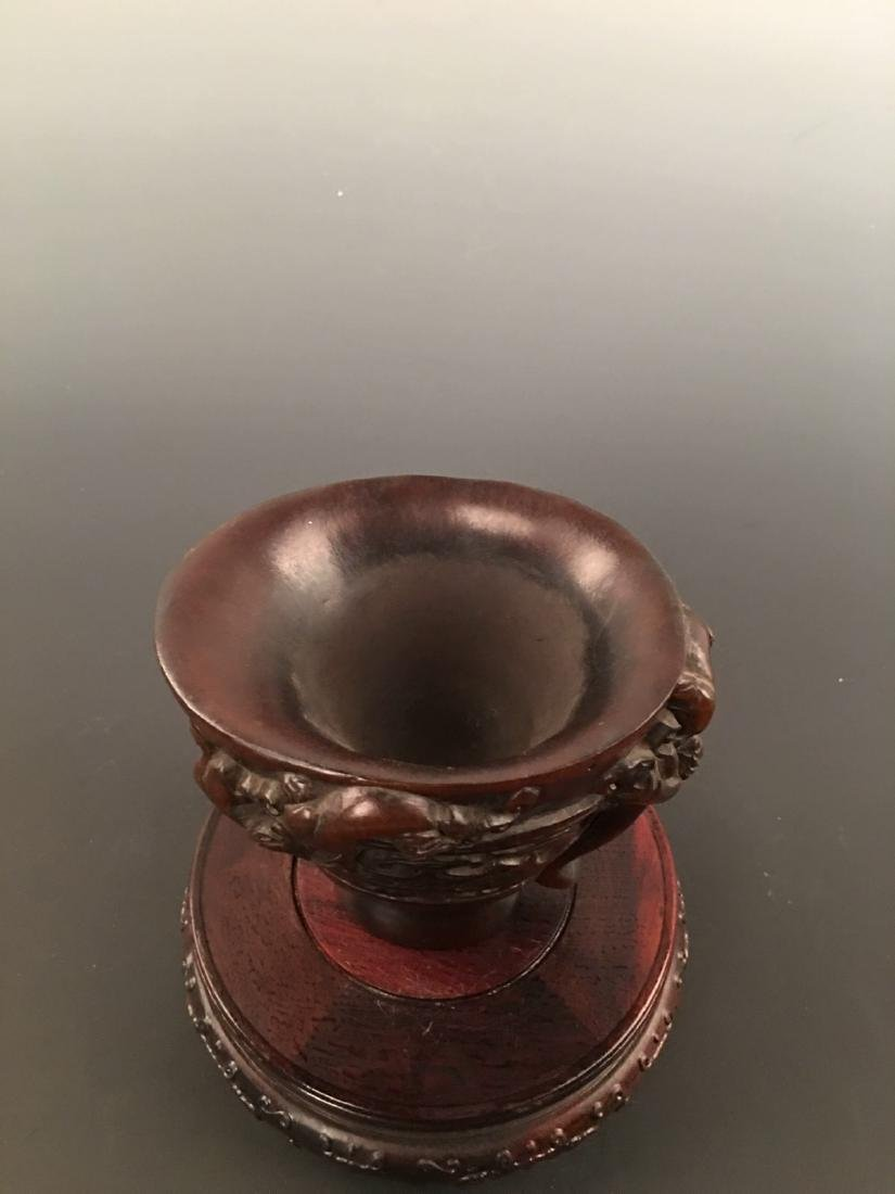 Chinese Ox Horn Carving Wine Cup - 4