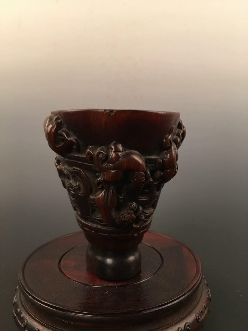 Chinese Ox Horn Carving Wine Cup - 5