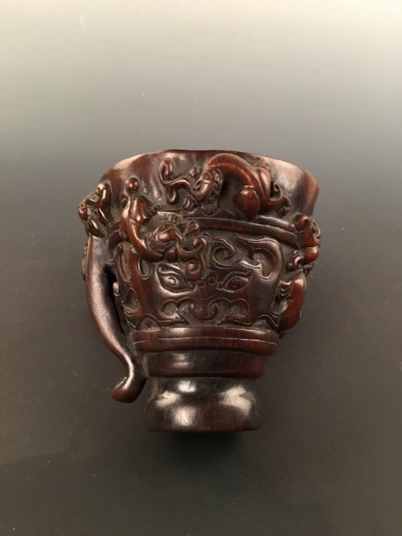 Chinese Ox Horn Carving Wine Cup - 7
