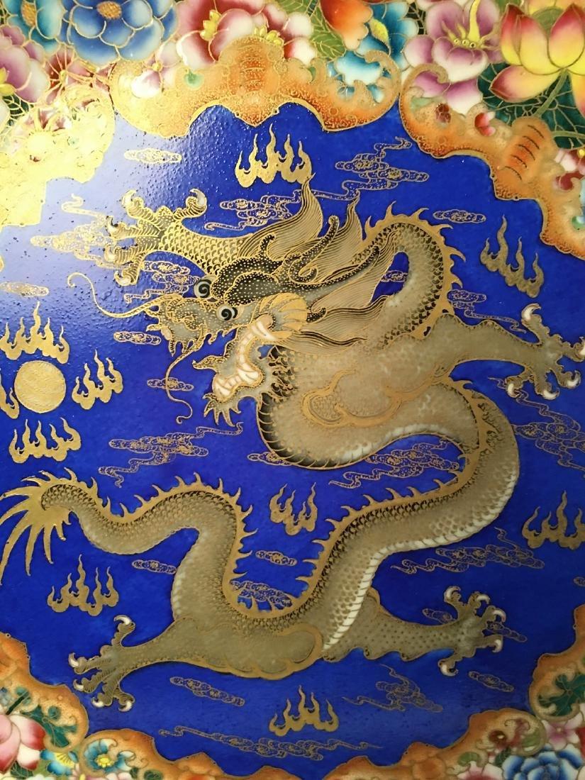 Chinese Enamel Gilt Dragon Dish With Qian Long Mark - 4