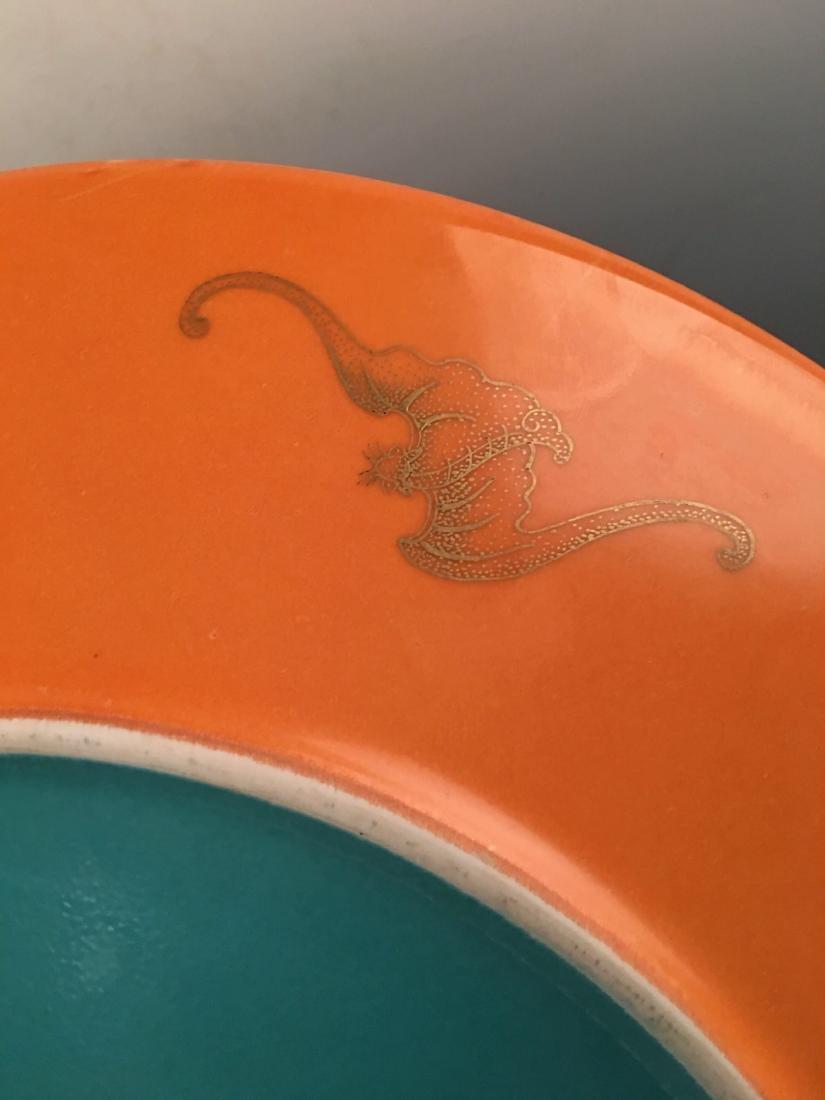 Chinese Enamel Gilt Dragon Dish With Qian Long Mark - 7