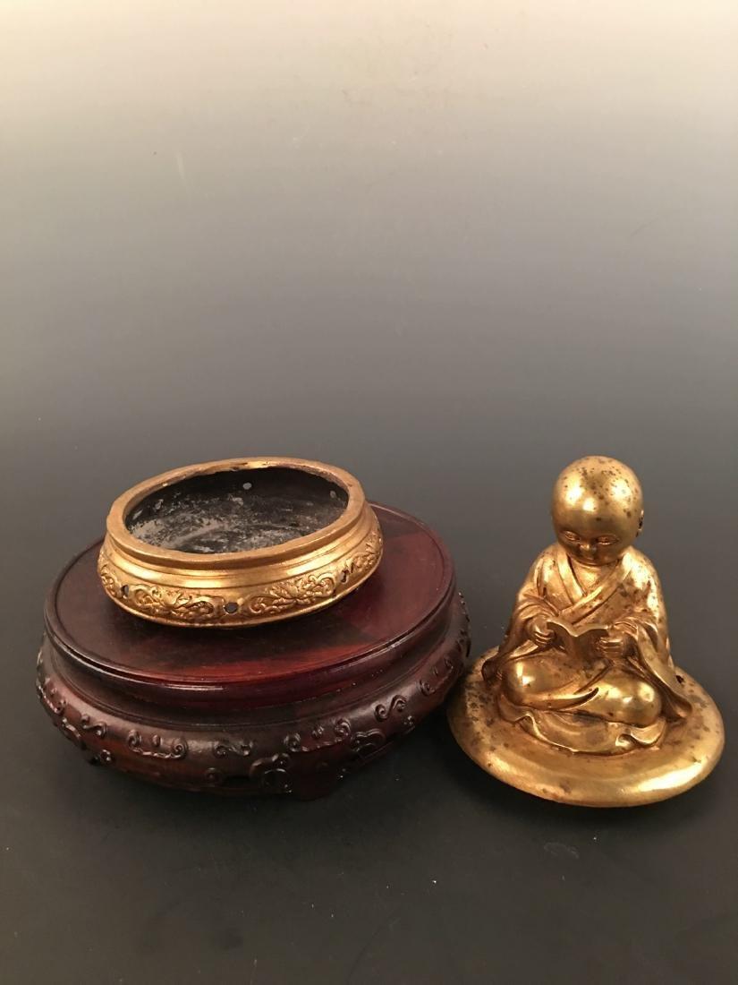 Chinese Gilt Bronze Monk Incense Burner - 5
