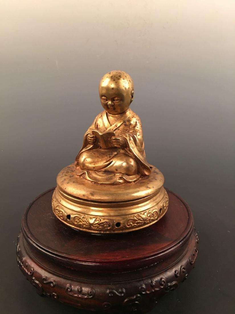 Chinese Gilt Bronze Monk Incense Burner - 6