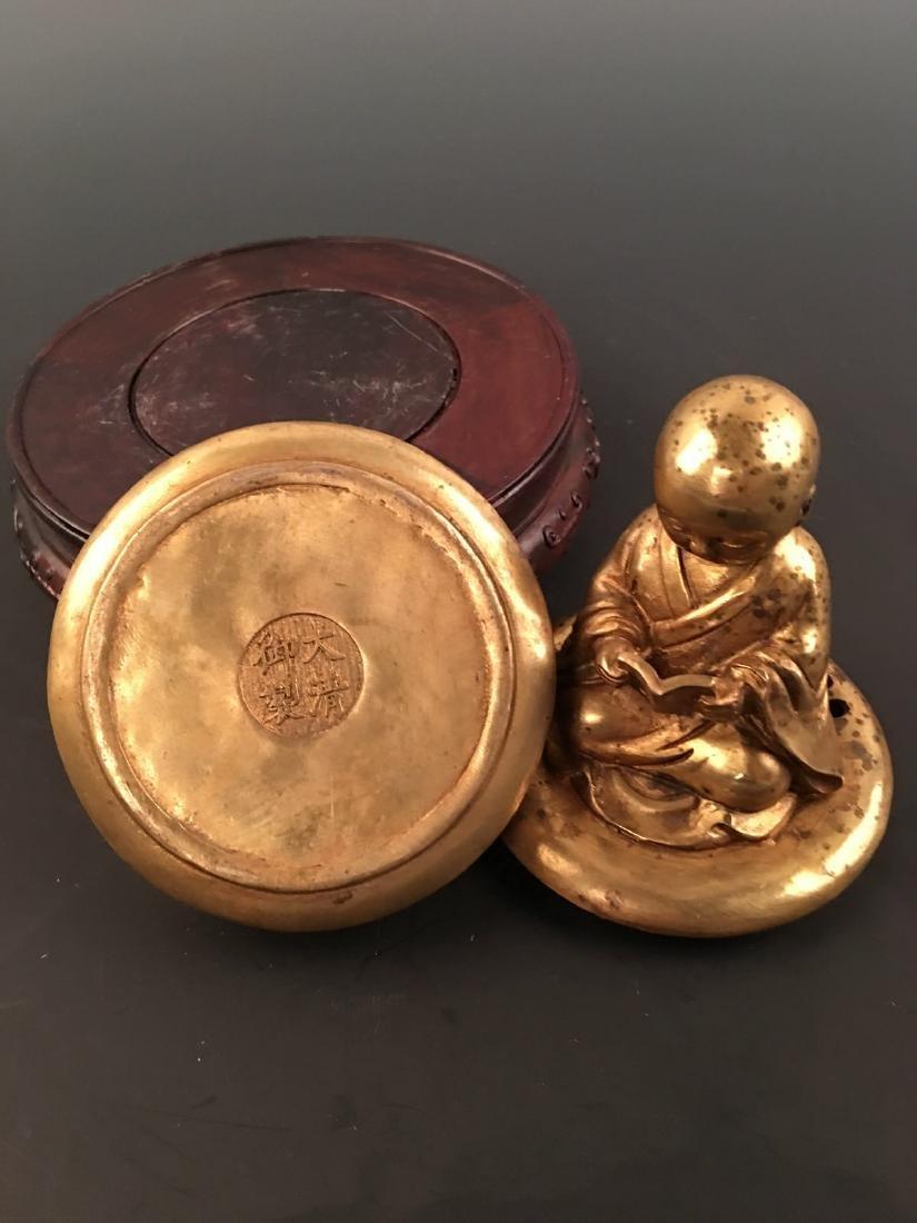 Chinese Gilt Bronze Monk Incense Burner - 7