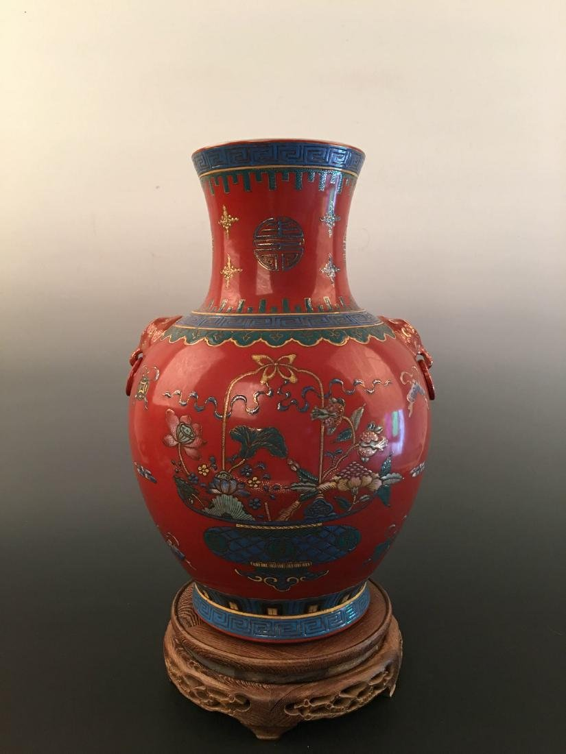 Chinese Red Ground Vase With Kang Xi Mark