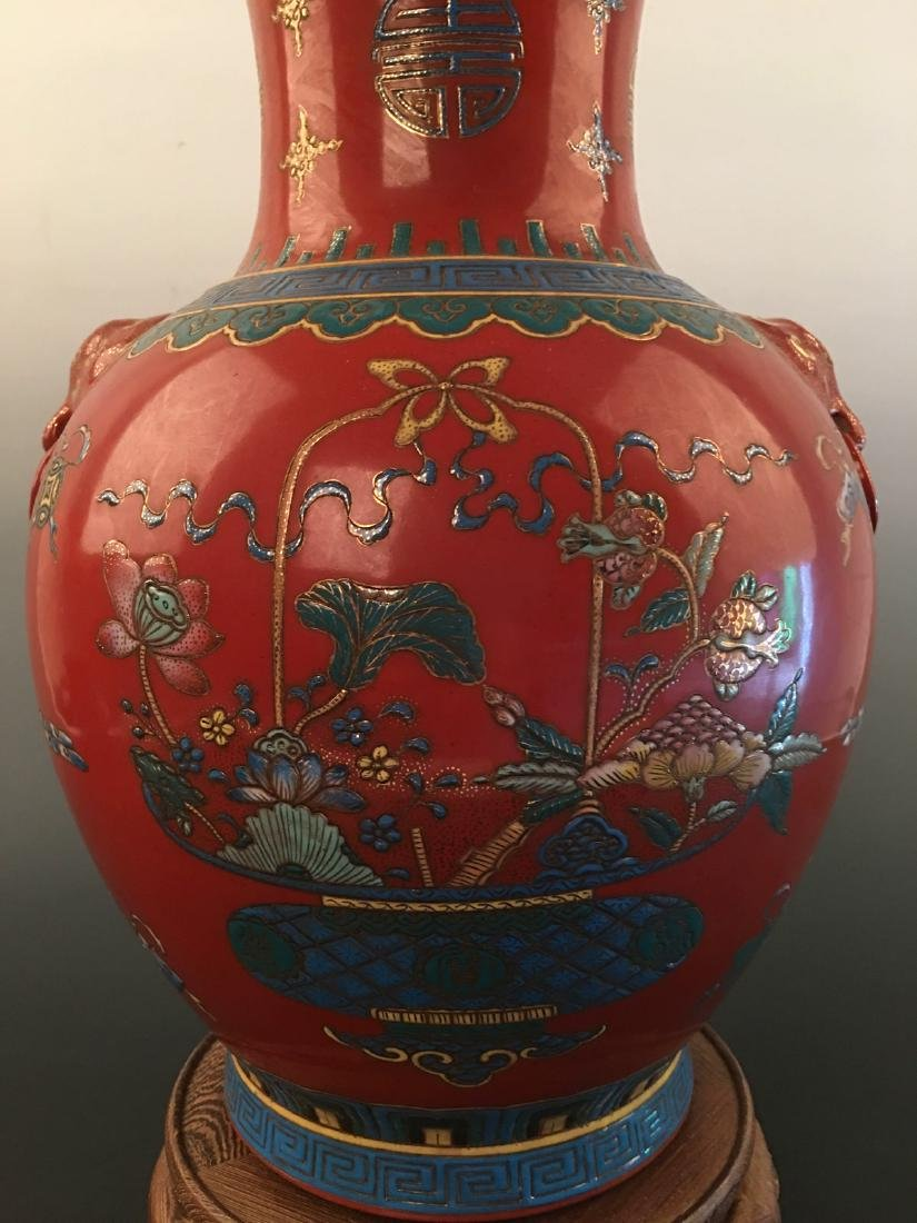 Chinese Red Ground Vase With Kang Xi Mark - 2