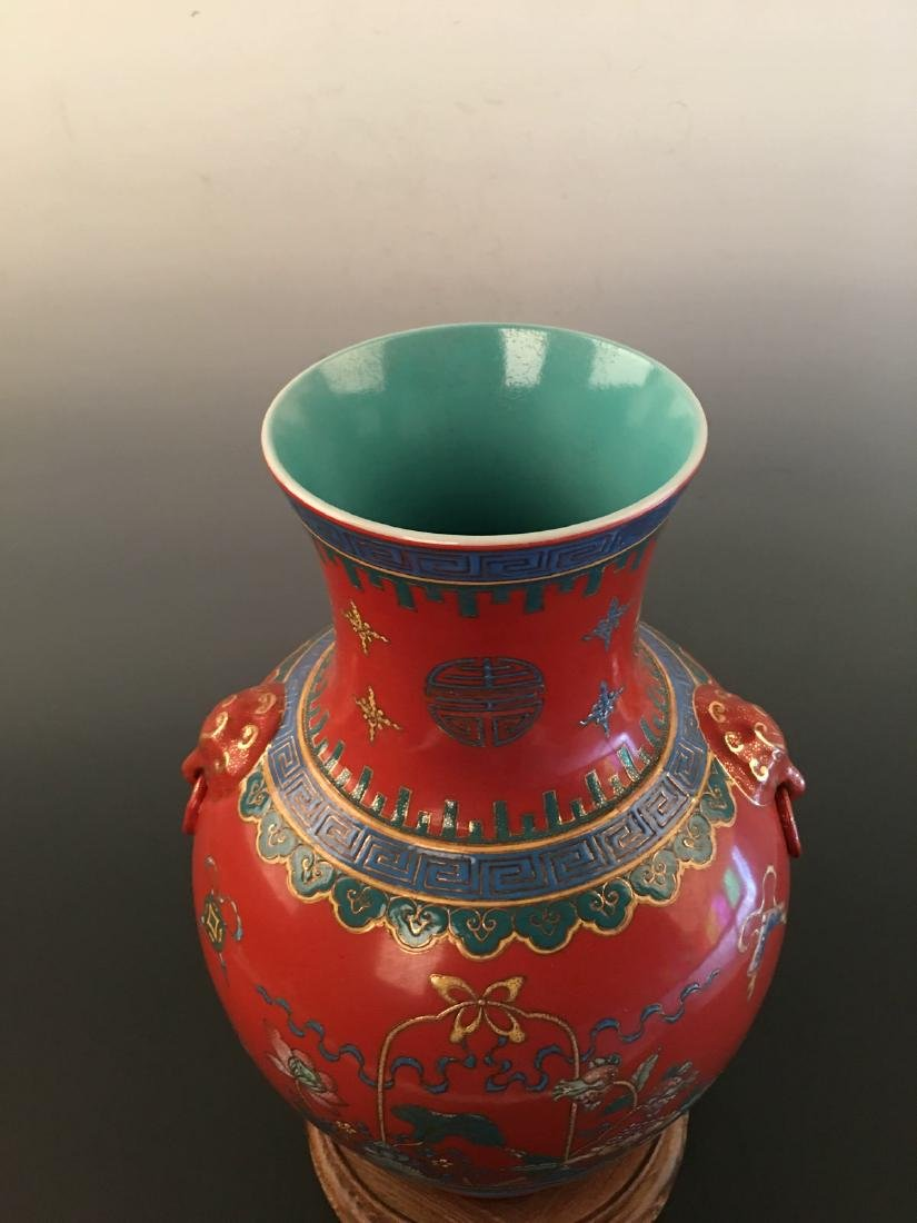 Chinese Red Ground Vase With Kang Xi Mark - 3