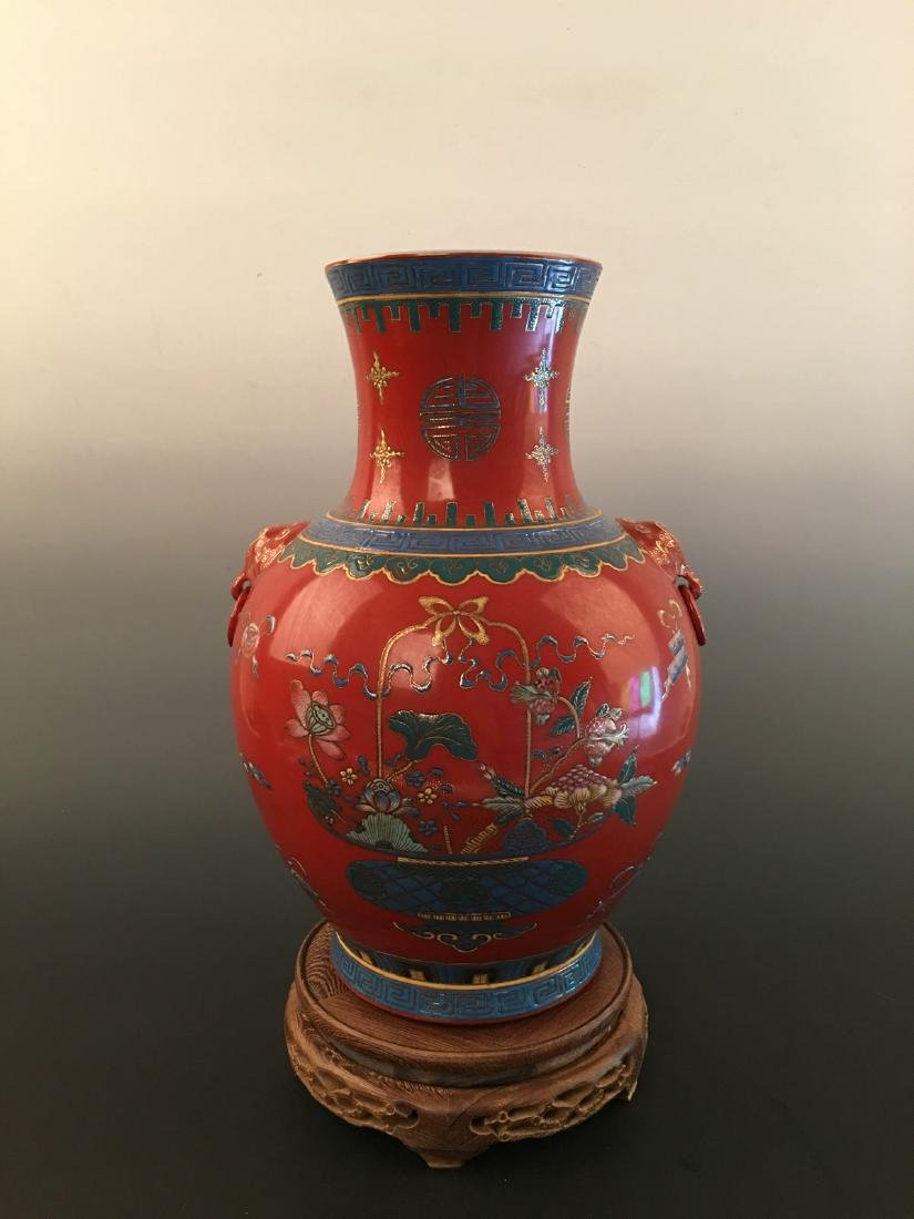 Chinese Red Ground Vase With Kang Xi Mark - 6