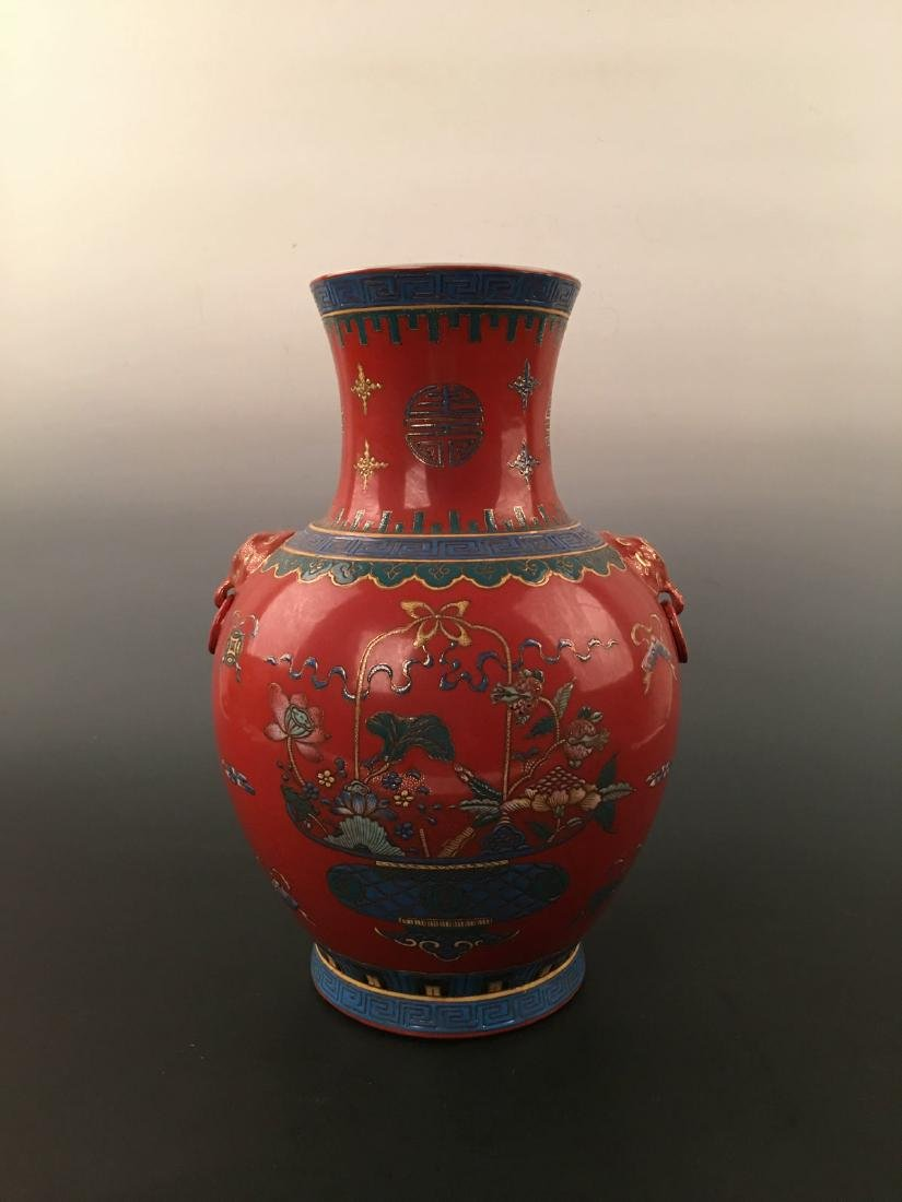 Chinese Red Ground Vase With Kang Xi Mark - 9