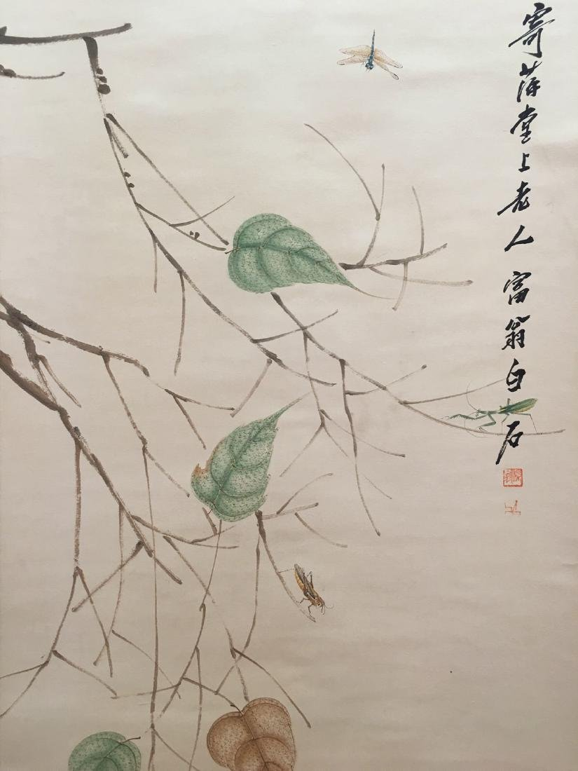 Chinese Hanging Scroll Of Grass And Insect - 10