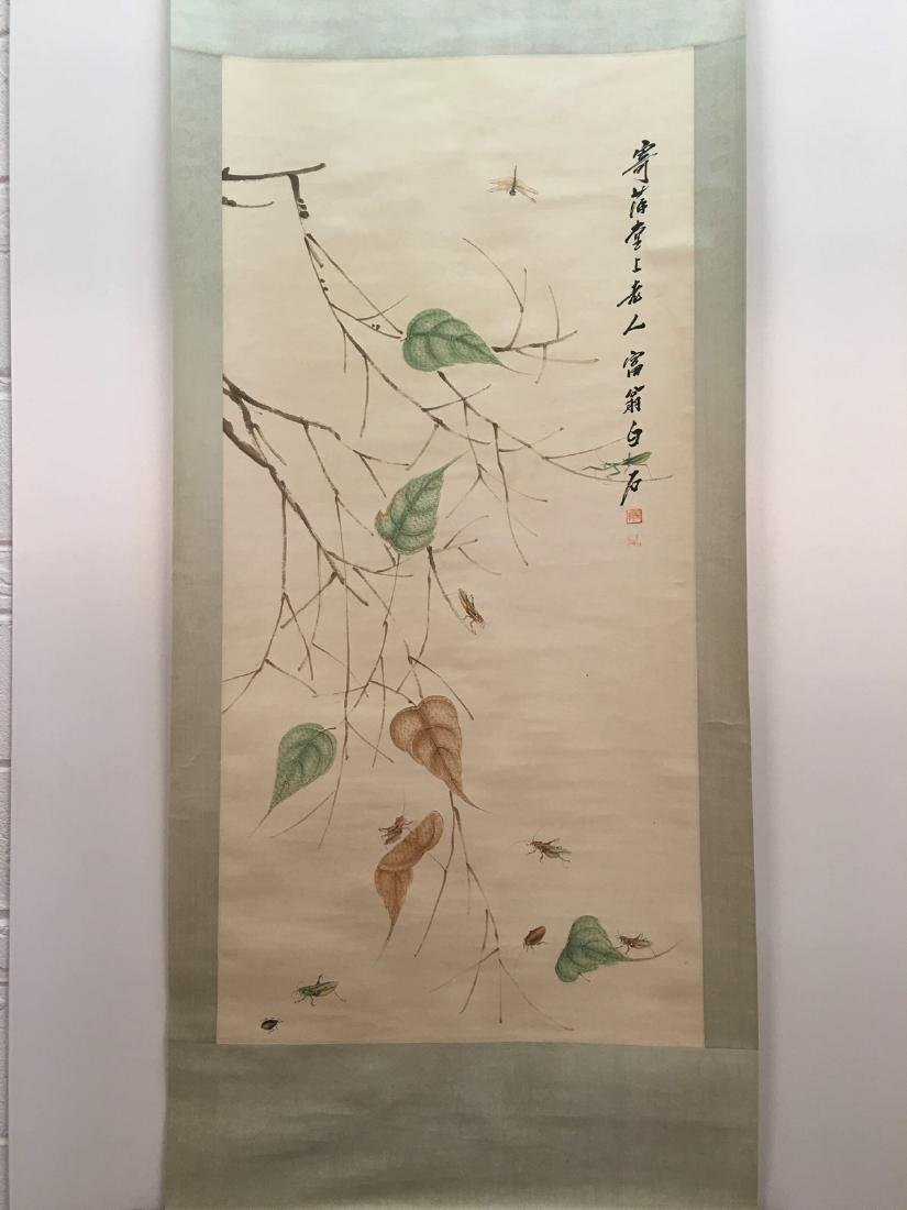 Chinese Hanging Scroll Of Grass And Insect