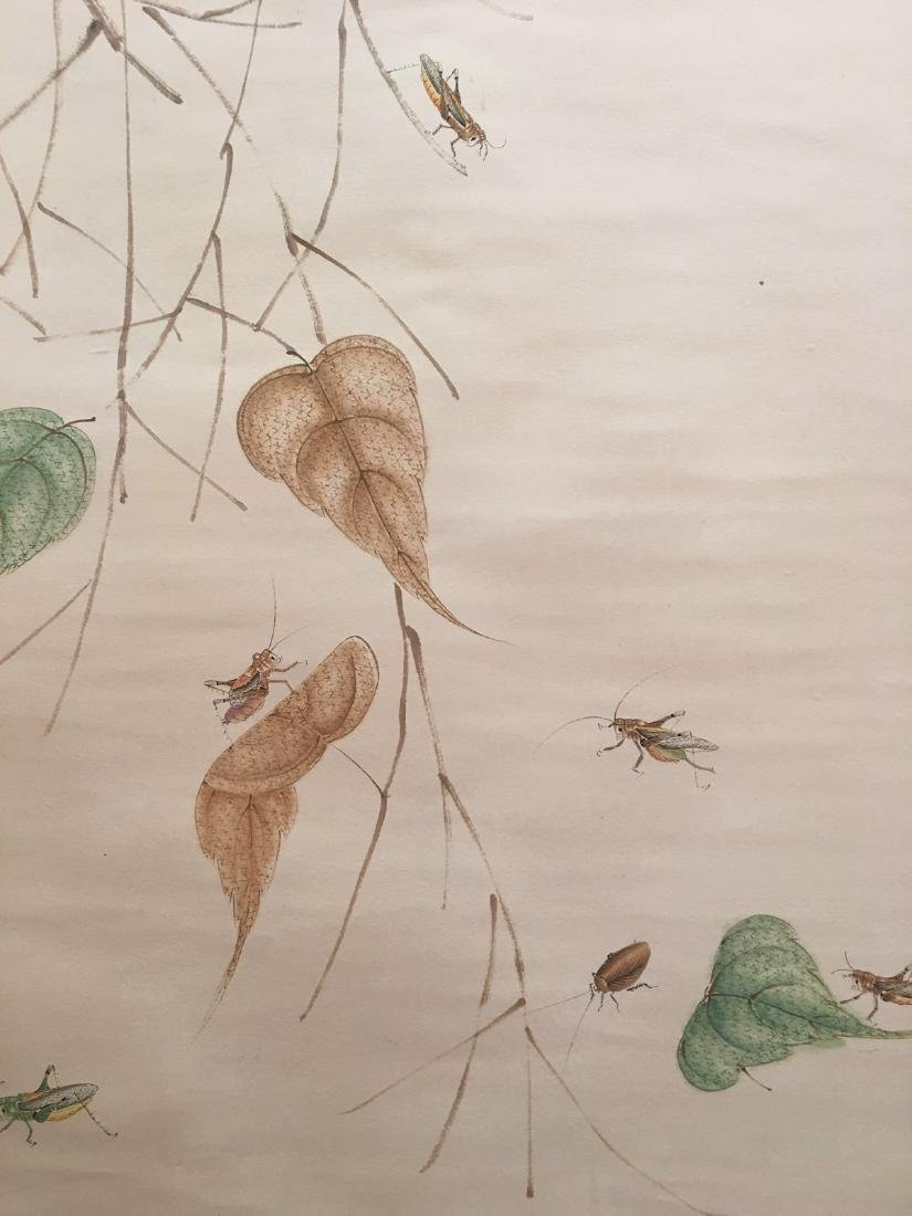 Chinese Hanging Scroll Of Grass And Insect - 4