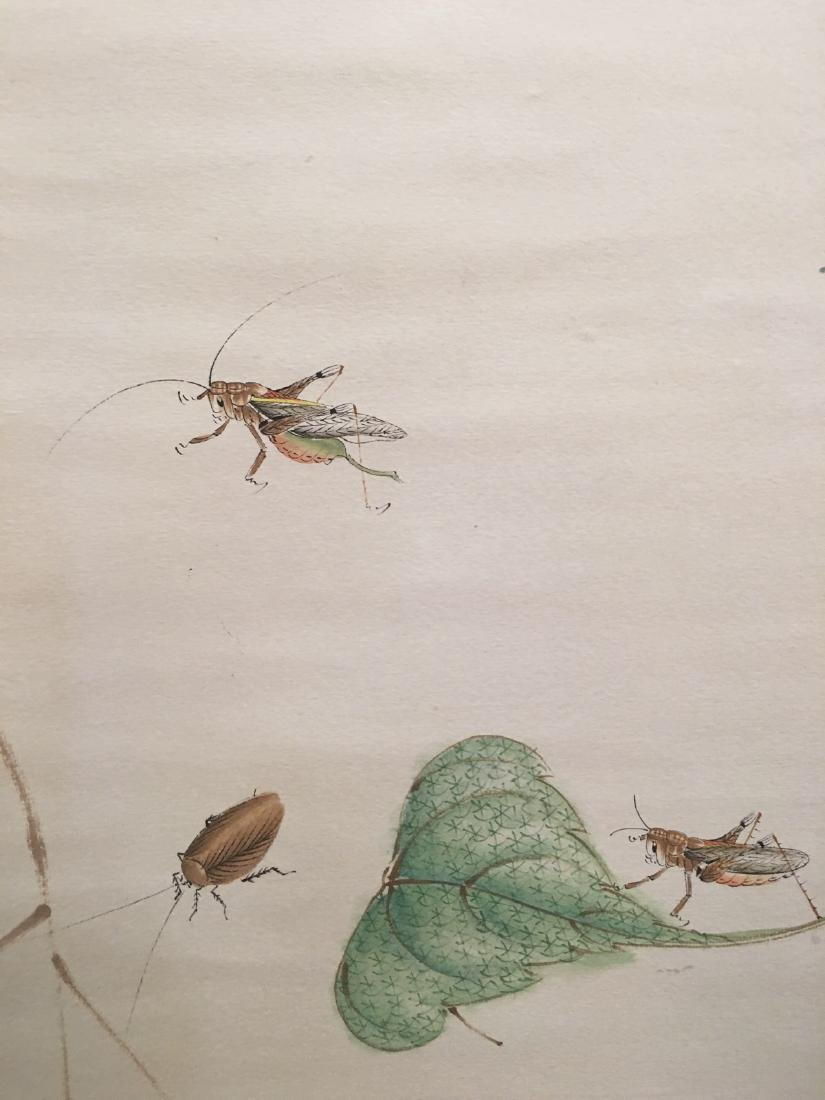 Chinese Hanging Scroll Of Grass And Insect - 7