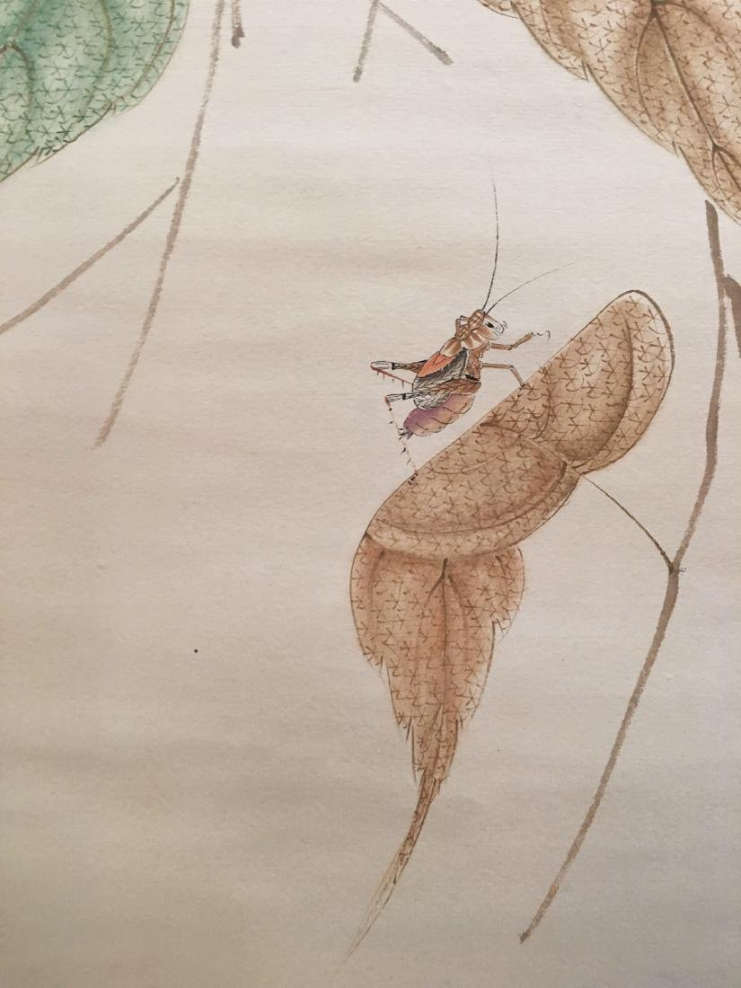 Chinese Hanging Scroll Of Grass And Insect - 8