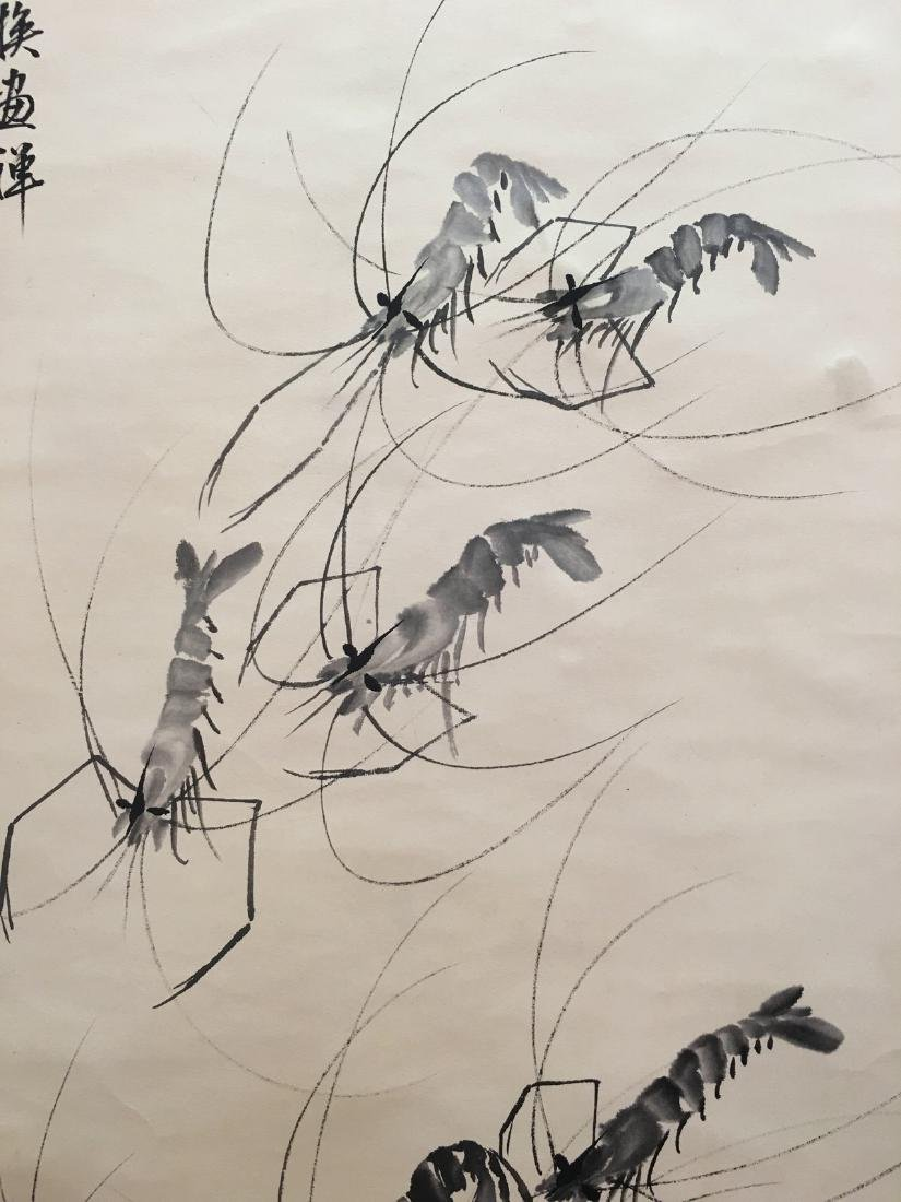 Chinese Hanging Scroll Of Shrimps - 3