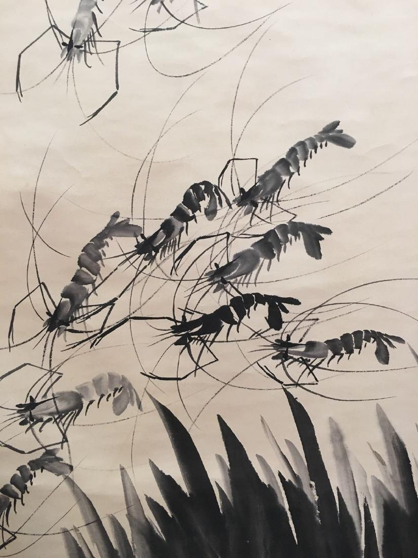 Chinese Hanging Scroll Of Shrimps - 5