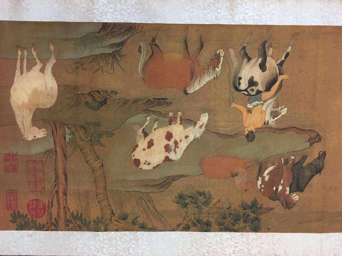 Chinese Hand Scroll Of Zhao Meng Tiao's Horse Bath - 2